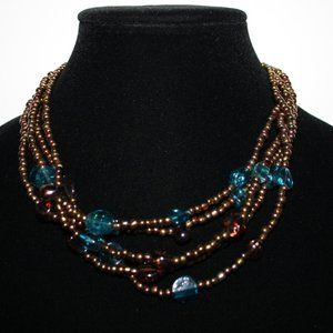 Vintagejelyfish Jewelry - Gold blue and purple glass beaded necklace